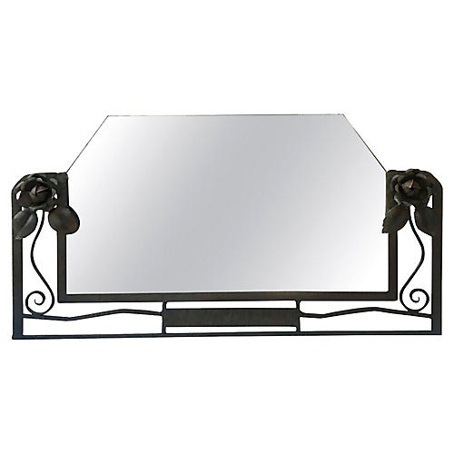 Iron Art Deco Mirror With Roses