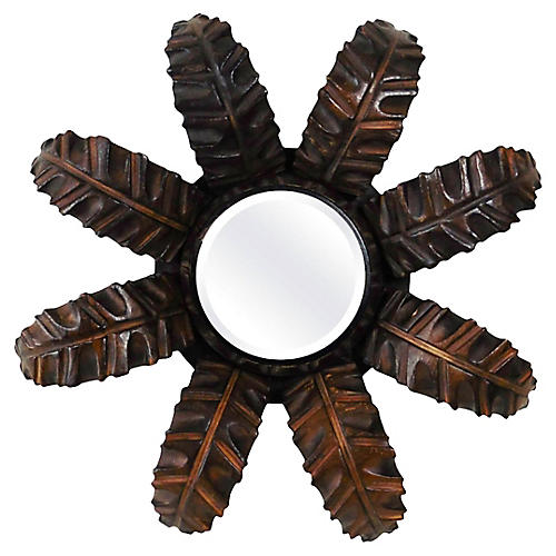 Wood Leaves Sunburst Mirror