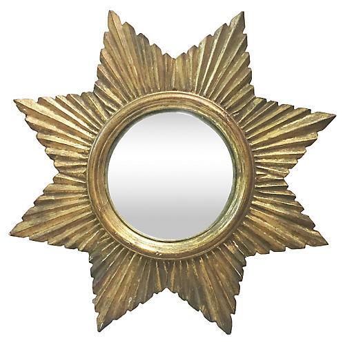 Convex Wood Sunburst Mirror