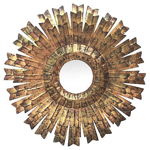 French Gilded Tole Sunburst Mirror