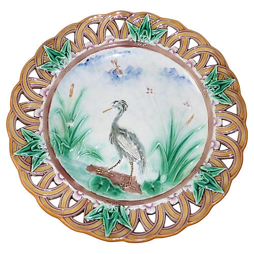 Majolica Heron Plate Wedgwood