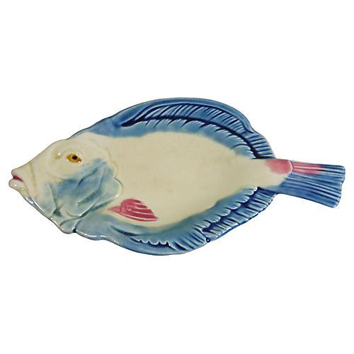 19th-C. Majolica Fish Platter