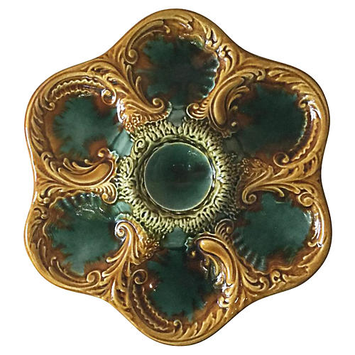 French Majolica Oyster Plate