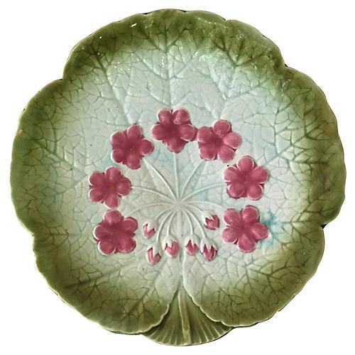 Sarreguemines Majolica Flower Plate