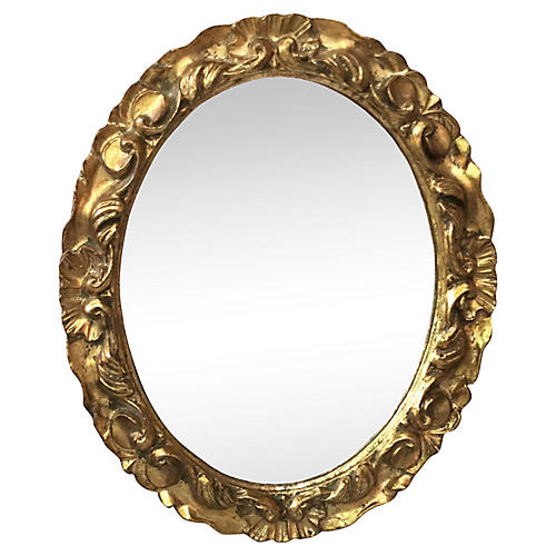 French Oval Giltwood Wall Mirror