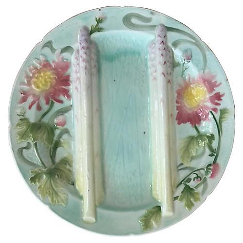 Majolica Mums Asparagus Plate