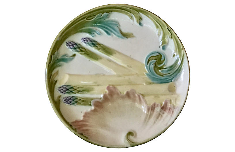 Majolica Asparagus Plate Luneville