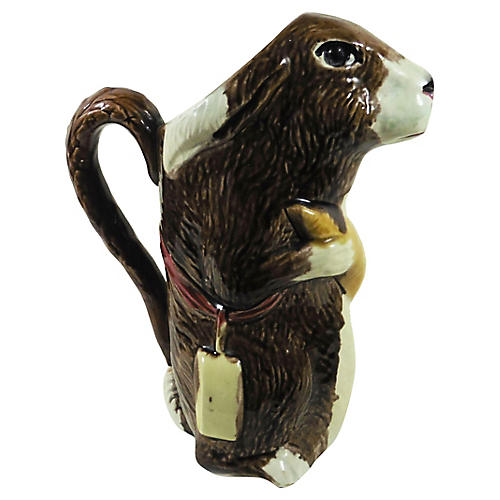 Majolica Rabbit Pitcher Orchies