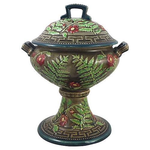 Choisy le Roi Majolica Lidded Bowl