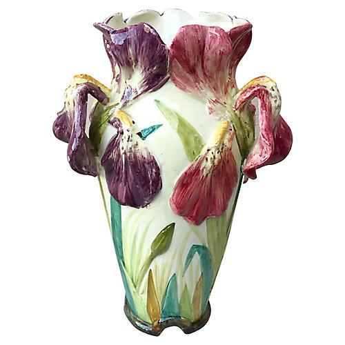 Majolica Iris Vase Massier