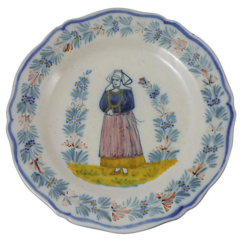 French Faience Henriot Quimper Plate