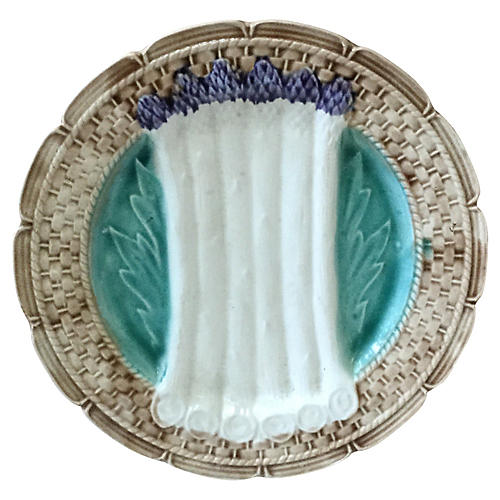 Majolica Asparagus Plate Orchies