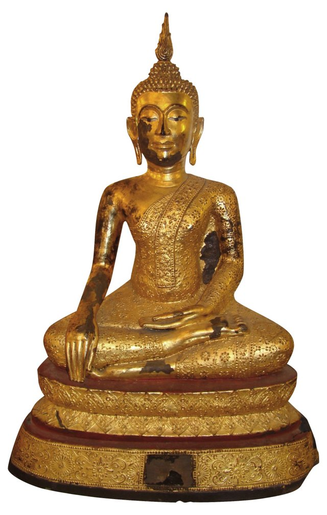 19th-C. Gilded Bronze Buddha