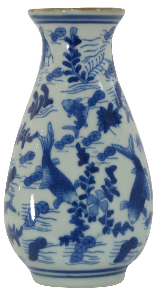 Blue & White Koi Pond Bud Vase