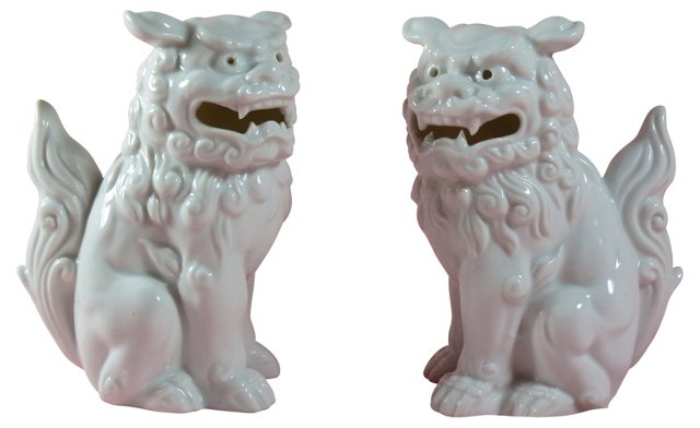Japanese Porcelain  Foo Dogs, Pair