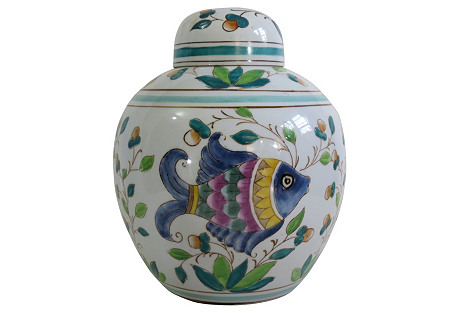 Fish Ginger Jar w/ Stand