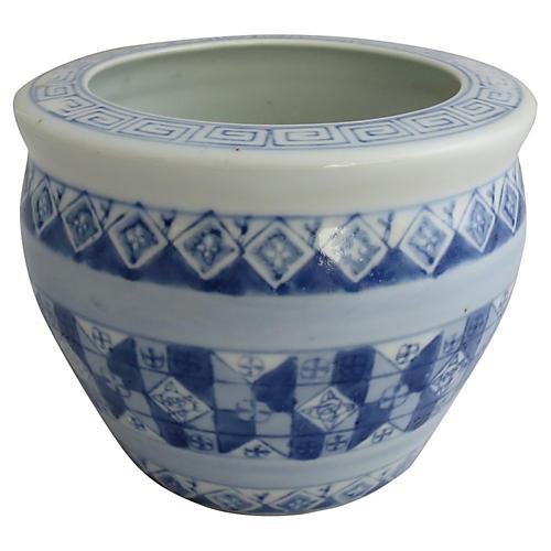 Blue & White Geometric Planter