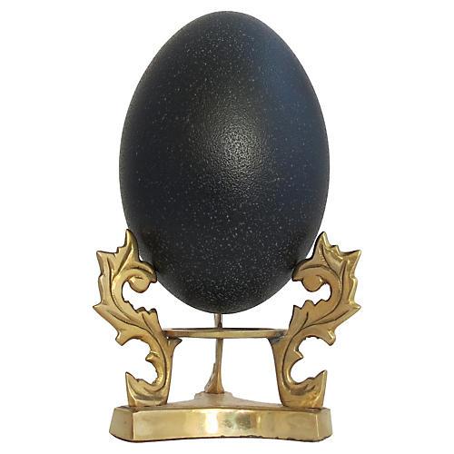 Natural Emu Egg w/ Brass Stand