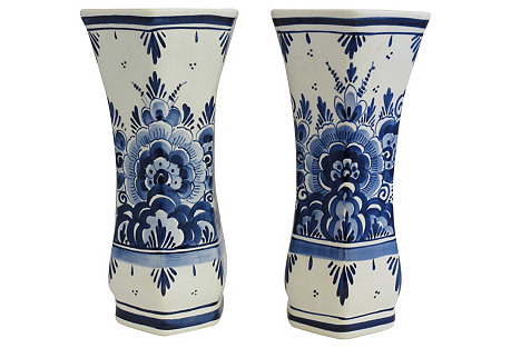 Hand-Painted Delft Vases, Pair