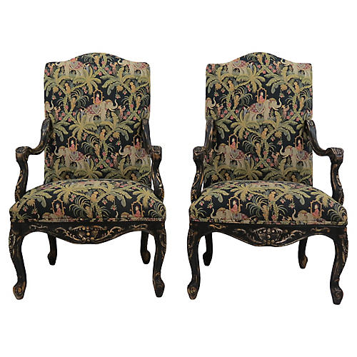 French-Style Fauteuils, Pair