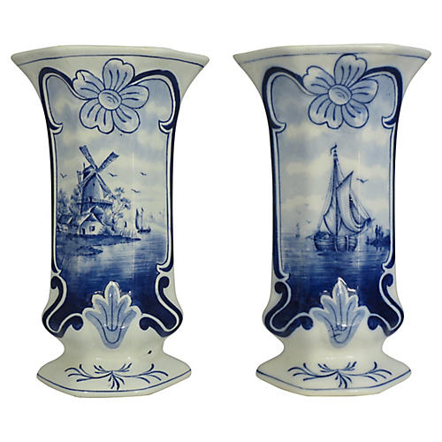 Early Delft Vases, Pair