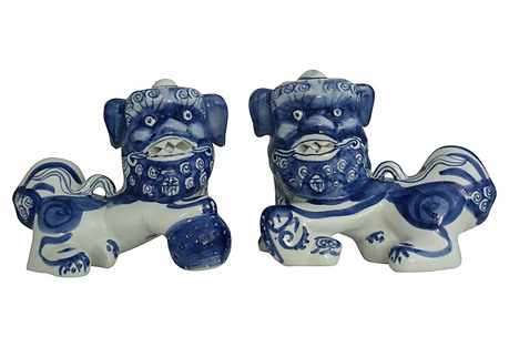 Blue & White Foo Dogs, Pair