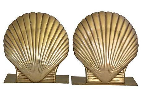 Brass Shell Bookends, pair