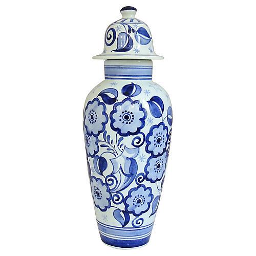 Midcentury Delft Floral Jar