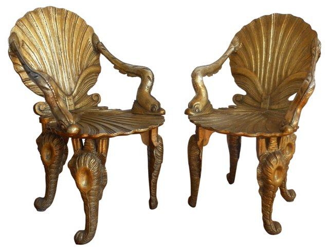 Grotto Chairs by David Barrett, Pair