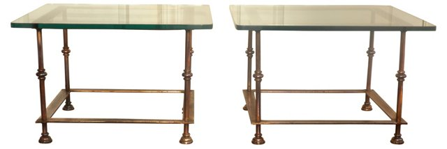 Copper & Glass Cocktail Tables, Pair