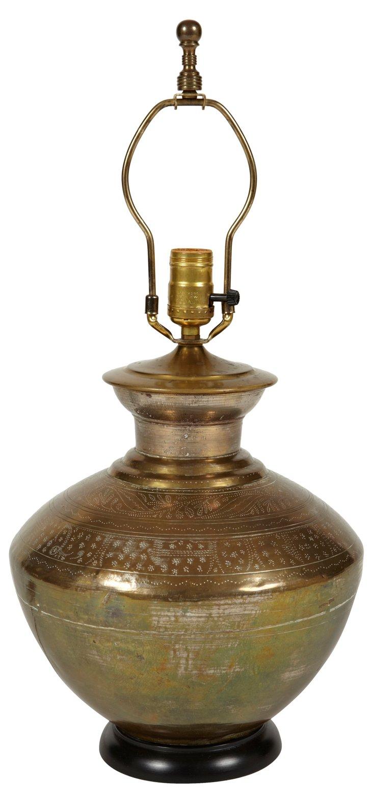 Hammered Brass Lamp