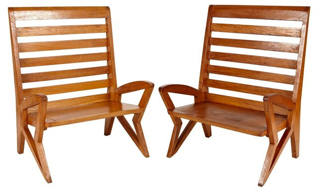 Chairs Attr. to Charlotte Perriand, Pair