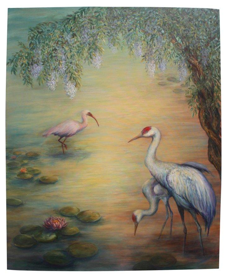 Cranes Under the Wisteria, 4'L x 6'H