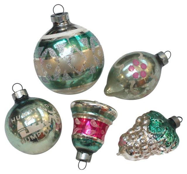 Glass  Ornaments, Set of 5