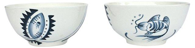 Hand-Painted Porcelain Bowls, S/5