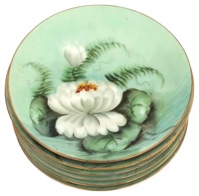 Antique Hand-Painted Plates, S/6
