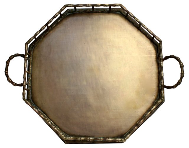 Octagonal Bamboo-Style Brass Tray
