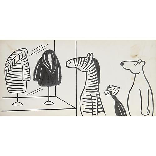 Store Window Furs Illustration