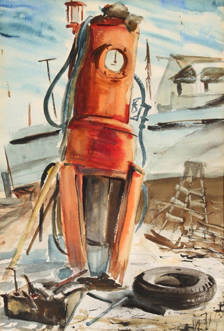 Seaside Gas Pump Watercolor