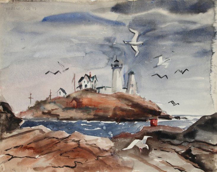 Maine Lighthouse with Sea Gulls