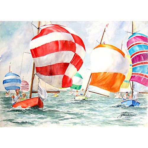 Sailboat Race Double-Sided Watercolor