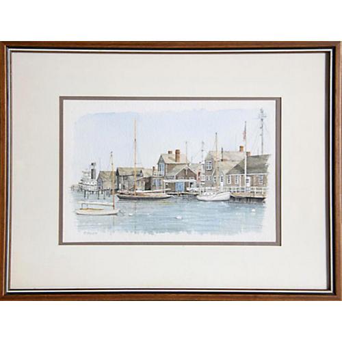 Sailboats at Dock by P. Scott