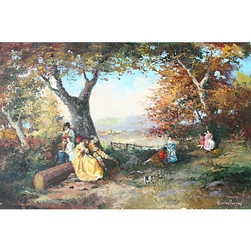 Late 19th C Picnic Scene