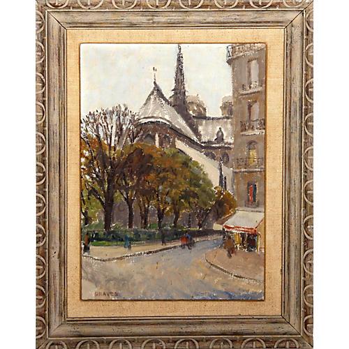 Parisian Street w/ Notre-Dame