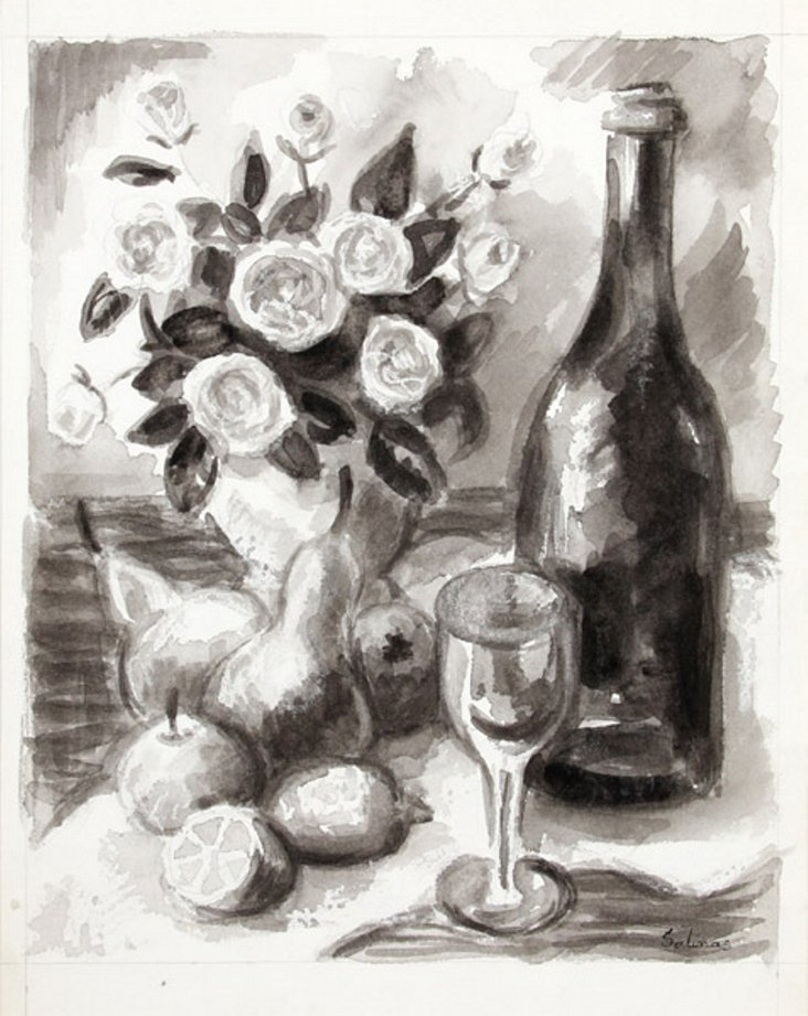 Still Life with Wine by Salinas