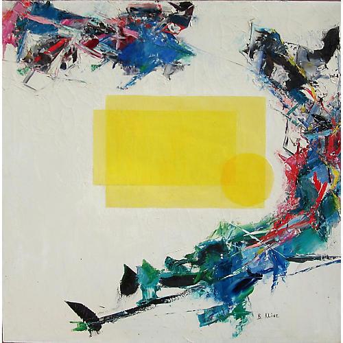 Geometric Yellow Abstract by B. Kline