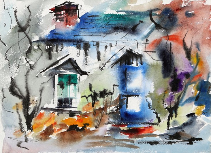 Multicolored House by Eve Nethercott