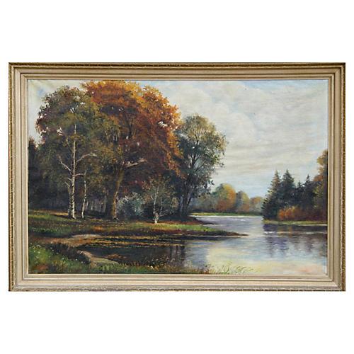 German Riverside Landscape by Gleim