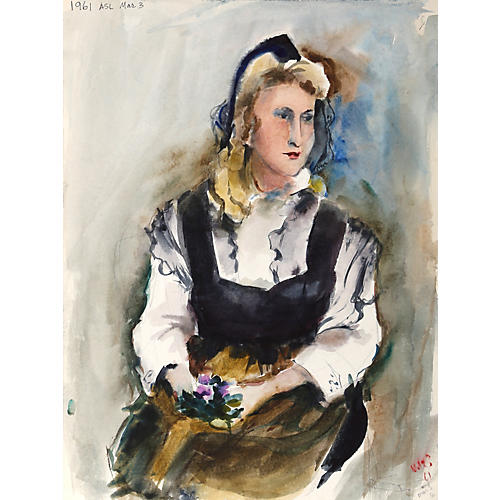 Seated Woman Watercolor by Nethercott