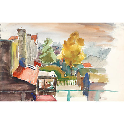 Balcony View Watercolor by Nethercott
